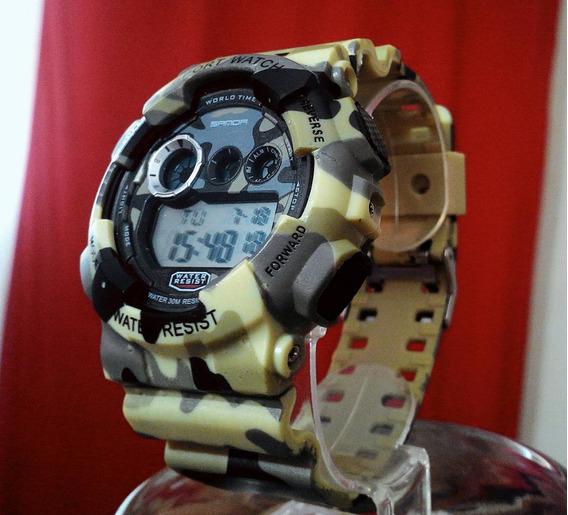 Relógio Camuflado Shock Green Modelo Militar Exercito Sanda
