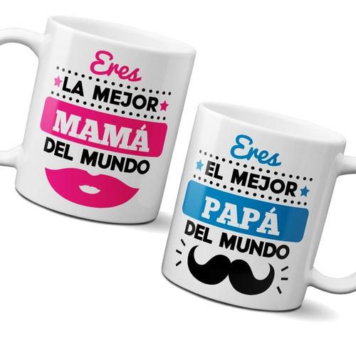 Tazas Dúo 11 Onzas Mejor Mamá / Mejor Papá Ideal Para Padres