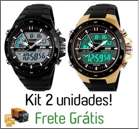 2x Relógio Masculino Militar Esportivo Shock Skmei Original