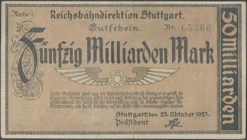 Alemania Regional Railroads 50 Millar Mark 23 Oct 1923 S1376