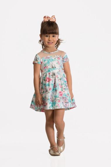 Vestido Estampado Castelo Princesas Malha Sarja Tam 02 04