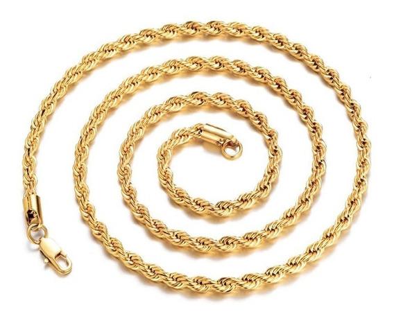 Corrente Masculina Cordão Baiano 60cm 4mm Aço Folheado Ouro