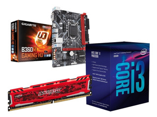 Combo Mother I3 8va Gigabyte 1151 B360m 8gb Ddr4 Hdmi Usb 3