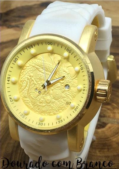 Relógio Masculino Dragon Preto +caixa Brinde