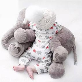 Almofada Elefante Travesseiro Bebê Pelúcia 75cm Antialérgico