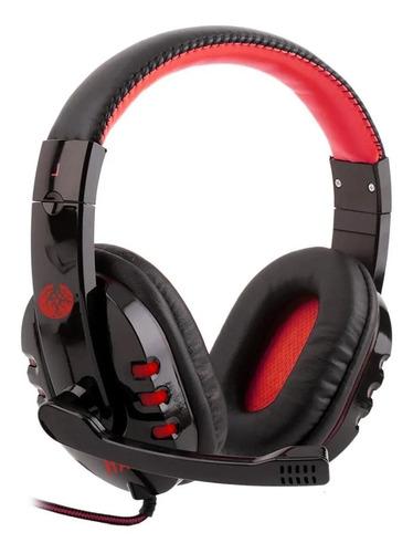 Imagem 1 de 3 de Fone de ouvido gamer Haiz Alpha 1804 preto e vermelho