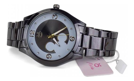 Relógio Feminino Preto Minnie Pulseira De Aço