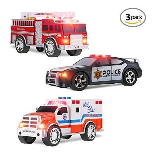 3-en-1 Juguete De Emergencia Vehiculo Playset Para Niños C