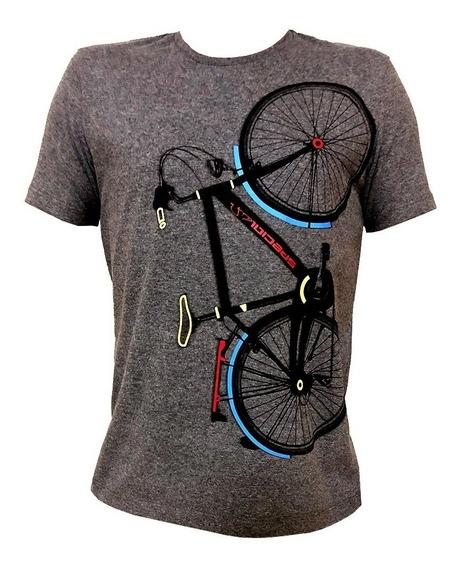 Camiseta Masculina Algodão Básica Estampada Bicicleta