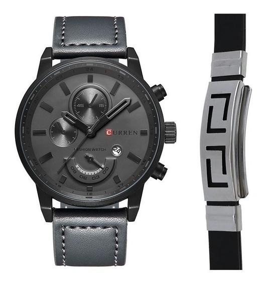 Relógio Masculino Original Curren Data + Pulseira Bracelete