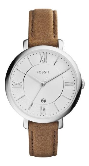 Reloj Dama Fossil Es3708 Color Café De Piel