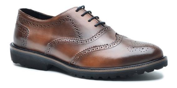 Sapato Oxford Casual Esporte Fino Anatômico Couro Estilo Inglês Brogue Wing Amarrar Solado Eva Cla Cle P5000/01