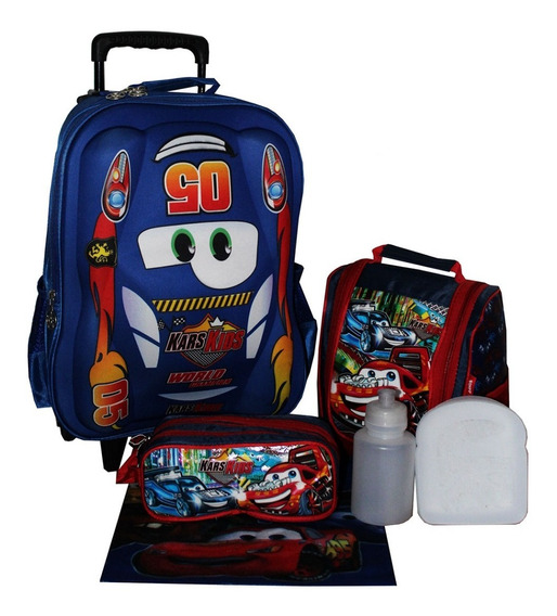 Kit Mochila Carros 3d Masculina Infantil Escolar Cores Aula
