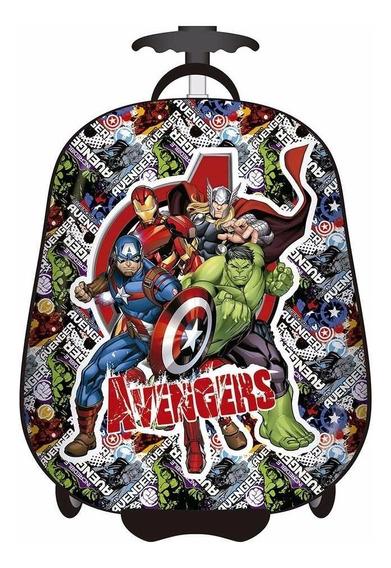 Mochila Valija Con Carro Avengers Rígida 16 Pulgadas Cresko