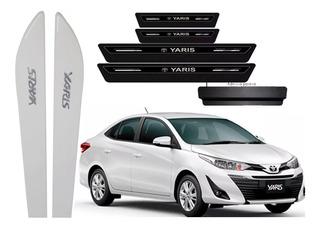 Kit Friso Lateral+soleira Toyota Yaris C/cromo Cor = Carro
