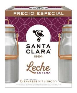 Leche Santa Clara Entera 1 Litro Paquete De 6 Pzs
