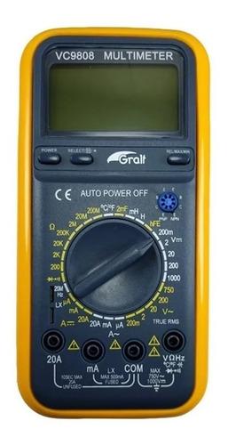Imagen 1 de 5 de Tester Multimetro Gralf Vc9808 Capacimetro Inductancia Ac/dc