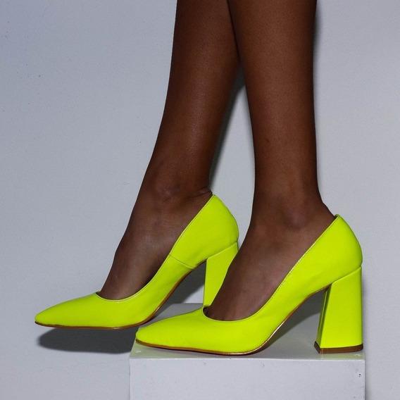 Zapatos Stilettos Neon Fluo Charol Punta Fina Alan