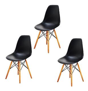 Sillas Eames Set X 3 Unidades - Dsw- Blanca Negro