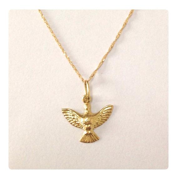 Ouro 18k Cordão Masculino 60cm Pingent Divino Espirito Santo