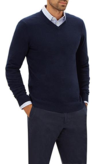 Sweater Buzo Hilo Hombre Cuello V Pullover Abrigo Microcentr