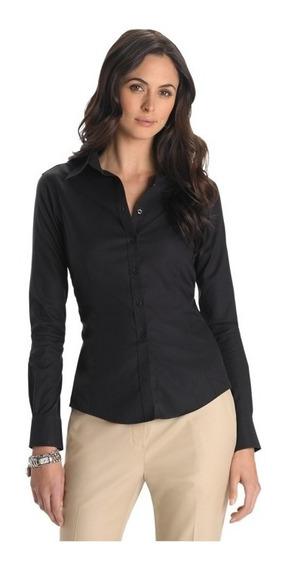 Camisa Dama Mujer Elastizada Negra Ideal Empresas Bordar
