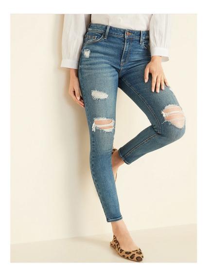 Jeans Dama Pantalón Mezclilla Mujer Skinny Desgastado Old Na