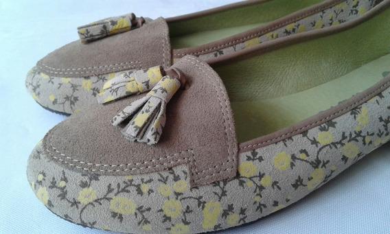 Zapatos Bailarinas Dama Marca Fu-london 100% Piel Talla 40.