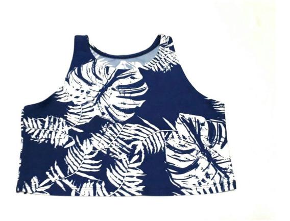 Liquidación Oferta Musculosa Top Camisa Volado Fucsia Azul