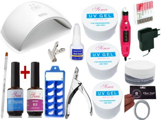 Kit Unhas Acrigel + Cabine Uv Lixa Kit Gel Acrygel Original