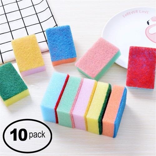 Imagen 1 de 4 de Esponja Fibra Para Lavar Trastes Cocina Paquete 10 Piezas