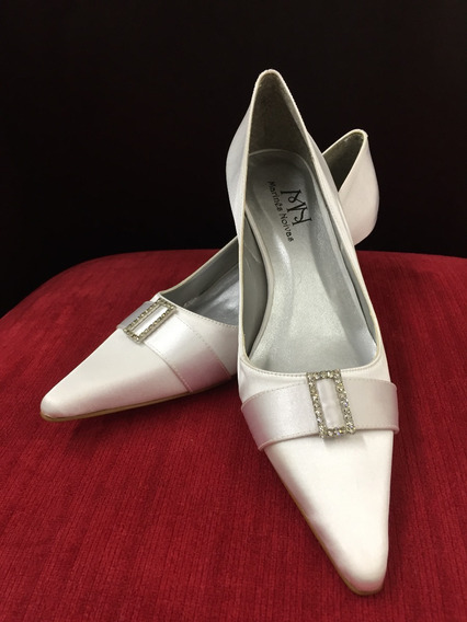 Sapato Noiva - Scarpin Cetim C/ Brilho - Branco