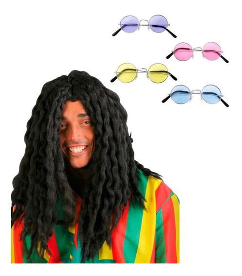 Disfraz Hippie Hombre Peluca Pelo Negro Halloween Fiesta
