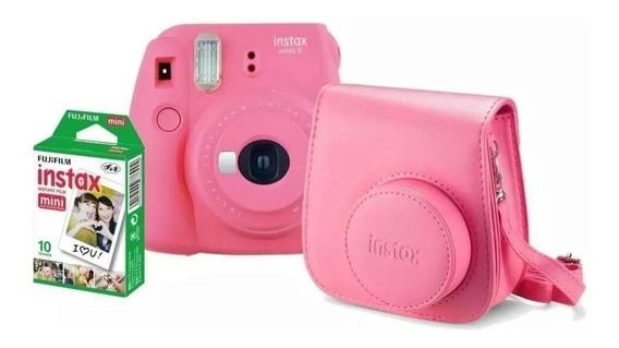 Kit Câmera Fujifilm Mini 9 Rosa + Bolsa + Filme De 10 Poses