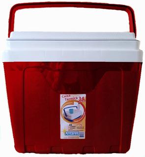 Caixa Térmica 34 Litros Cooler Com Trava Cor Vermelha