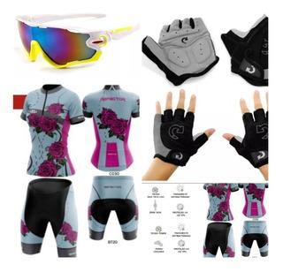 Uniforme Óculos Luva Feminino Ciclista Ciclismo Roupa Mtb Uv