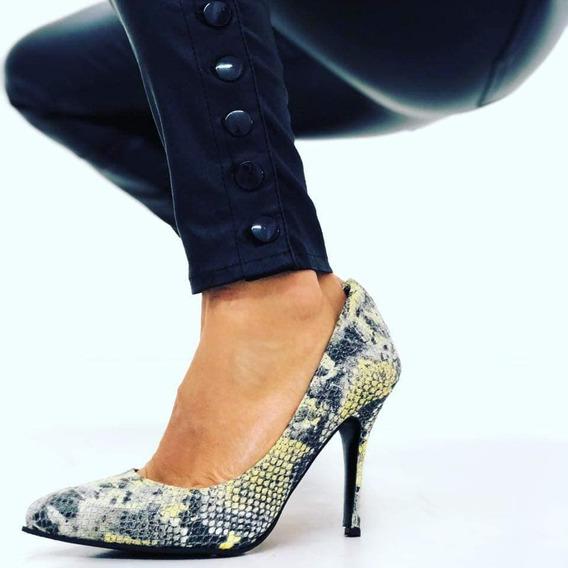 Stilettos Zapatos De Cuero Vacuno Grabado Reptil Taco Fino