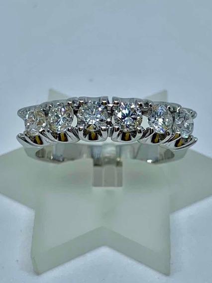 Glitter Joias Anel Meia Aliança Ouro E 108 Pontos Diamantes