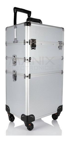 Neceser De 3 Niveles En Torre Cosmetiquera Profesional Belleza Aluminio Resistente