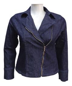 Jaqueta Jeans Feminina De Ziper - Plus Size