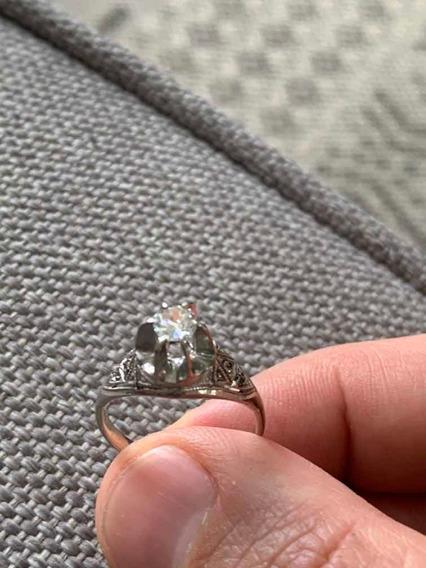 Antigo Solitário Em Paládio E Diamante De 35 Pontos
