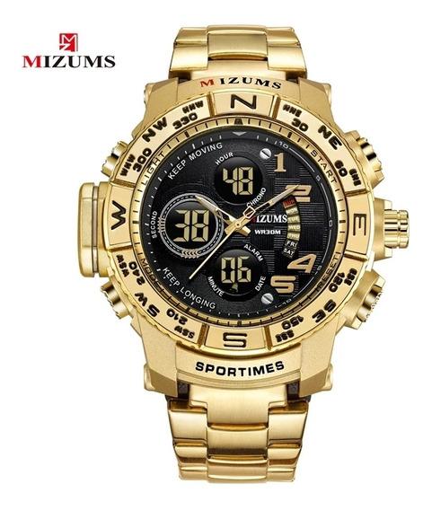 Relógio Dourado Militar Mizums