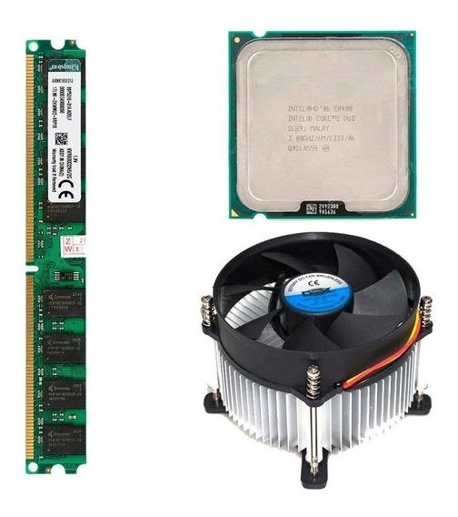 Kit 2gb Memoria Ddr2 800mhz + Core 2 Duo E8400 + Cooler Dex