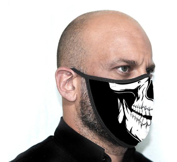 Máscara Personalizada Preta Caveira Proteção - Ref ( 01 )