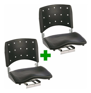 Kit 2un. Cadeira Barco Giratória Dobrável Assento Almofadado