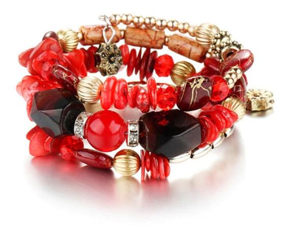 Pulseira Feminina Pedras Naturais Cristais Vermelho Luxo