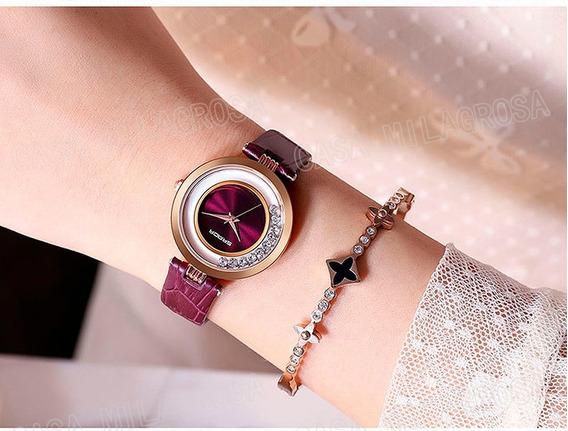 Relógio Feminino Casual Luxo Importado Couro Roxo