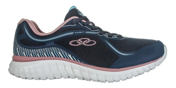 Tênis Azul Com Rosa Olympikus Exact Feminino Esportivo Super Leve