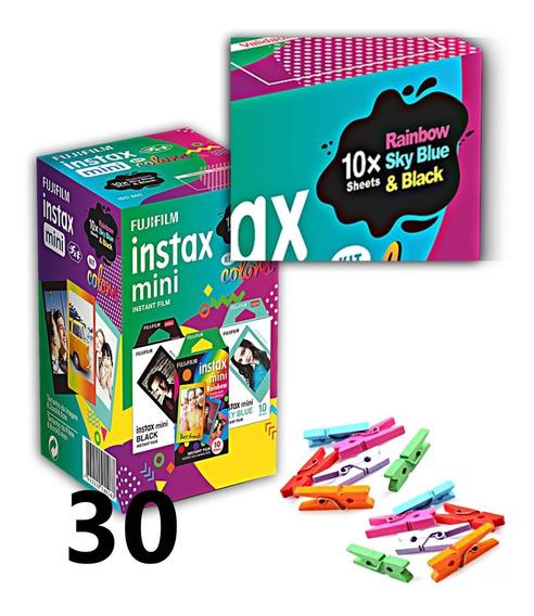 Filme Instax Kit 10 Borda Preta, 10 Azul Claro, 10 Coloridas