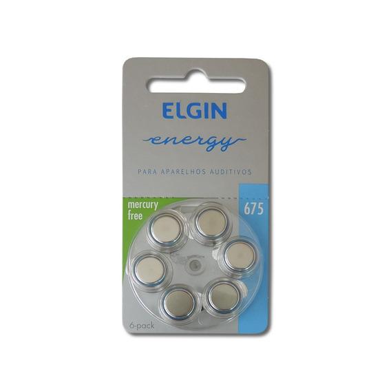 Bateria Para Aparelho Auditivo 675 Pr44 1,4v Com 6 Elgin